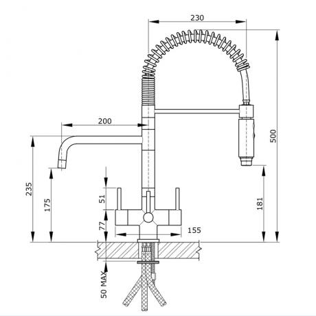 milano 3 lever 3 way tap technical drawing